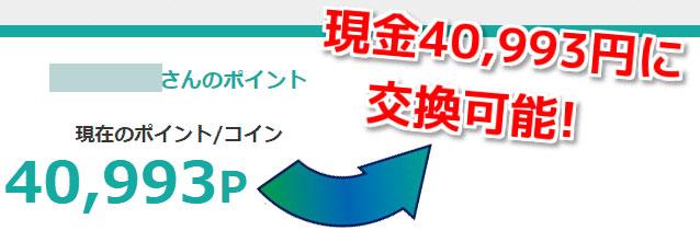 ポイントサイト40993円に交換